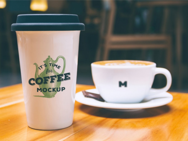 Realistic Coffee Mug Mockup with Green Strips