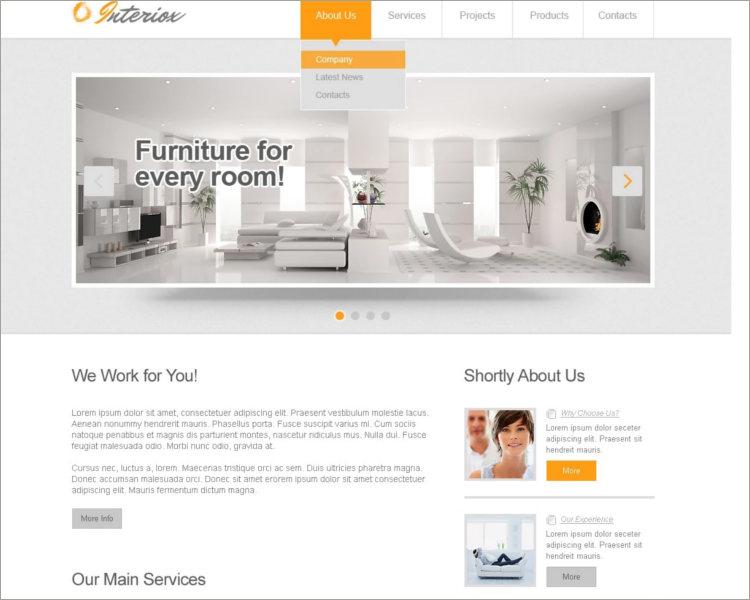 Responsive Interior Design Website Template