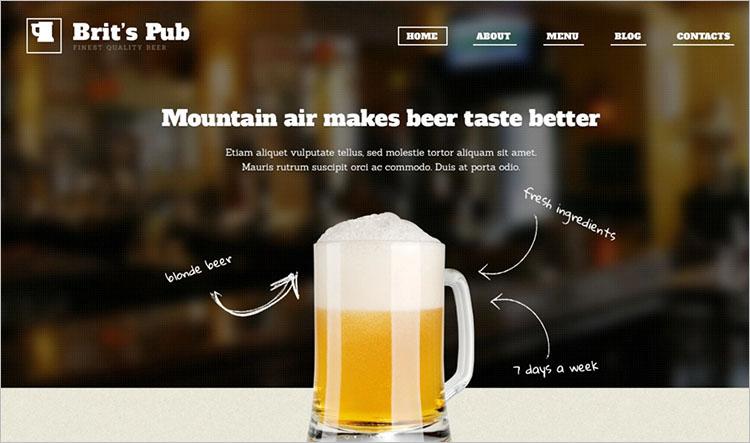 Responsive Modern Pub WordPress Theme Templates
