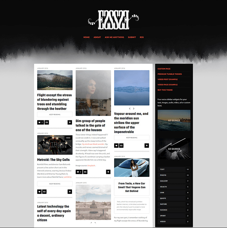 102 premium blog themes responsive website templates 2018 for Pro photo blog templates