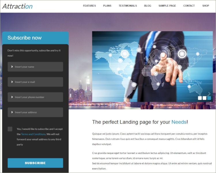 Responsive WordPress Landing Page Theme