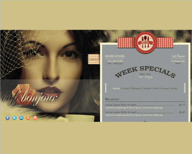 Restaurant Card WordPress Template