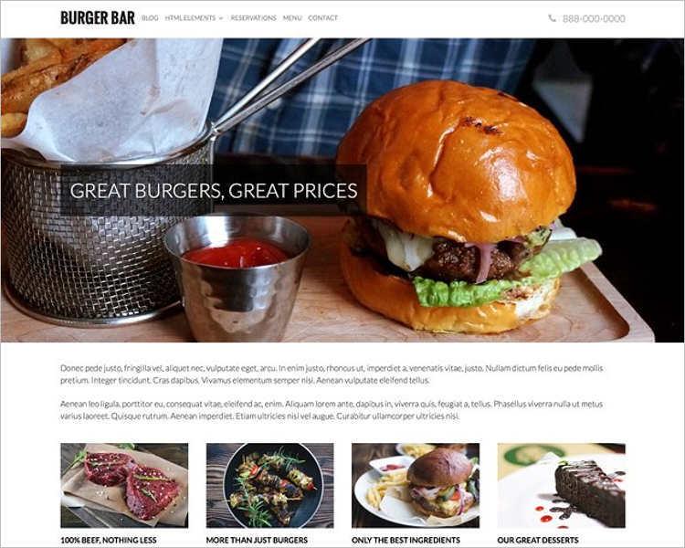 Restaurant PSD WordPress template