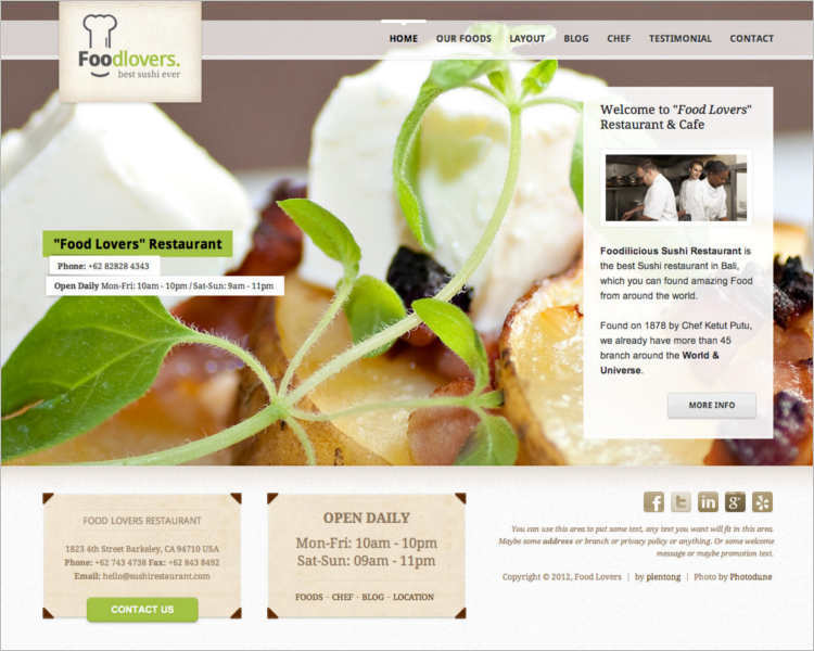 Restaurant zInventary WordPress template