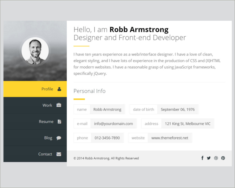 Resume Joomla Template