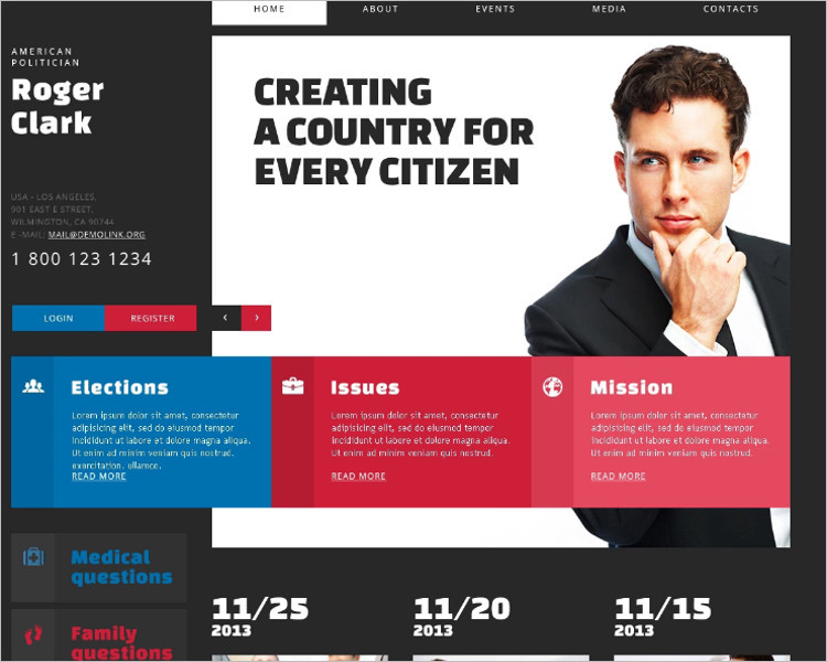 Sample Political Candidate Joomla Template