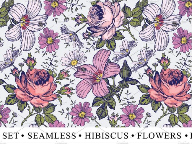 Set Flowers Rose Hibiscus Image