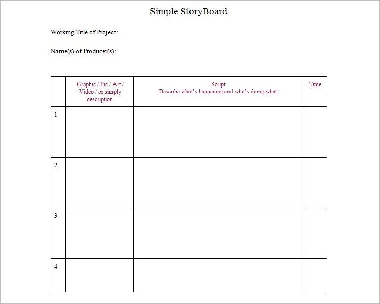 Simple Blank Storyboard Template