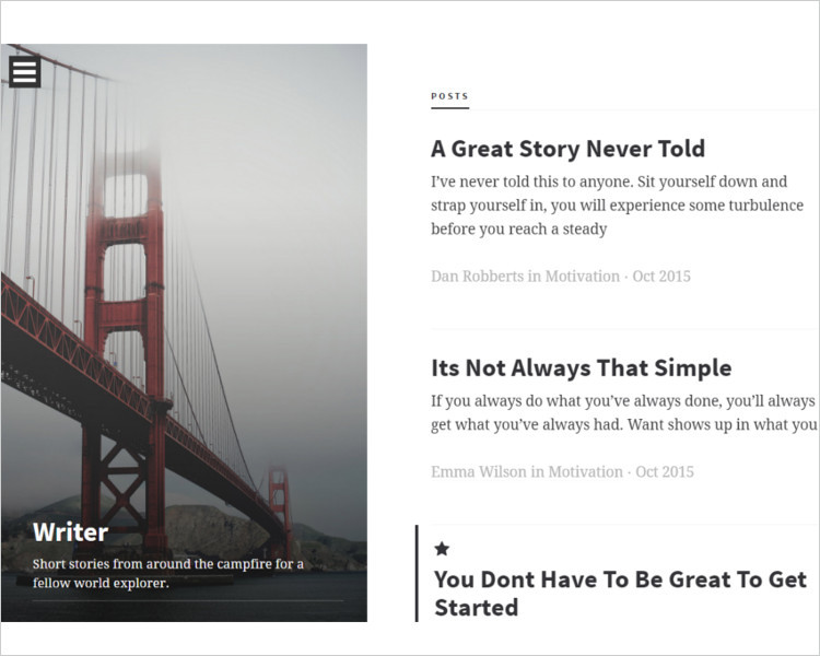 Simple Writer Bootstrap Template