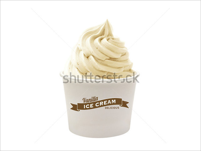 Ice Cream In Paper Cup On White Background