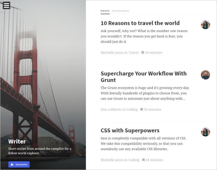 Static Site WordPress Templates