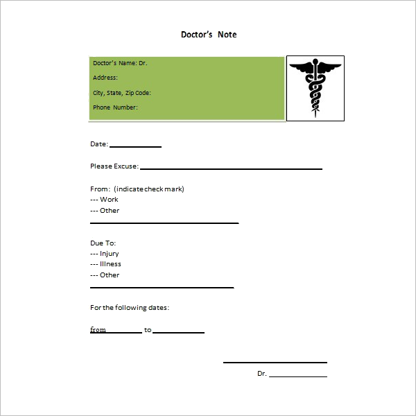 Urgent Care Doctor Note Template