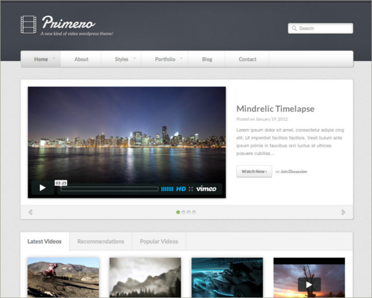 Video blog wordPress Template