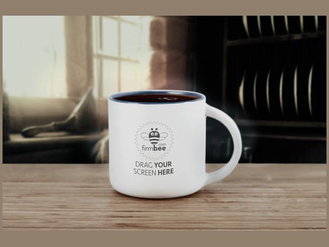 White Elegant Photorealistic PSD Coffee Mug Mockup
