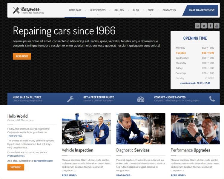WordPress Theme For Mechanic Workshops