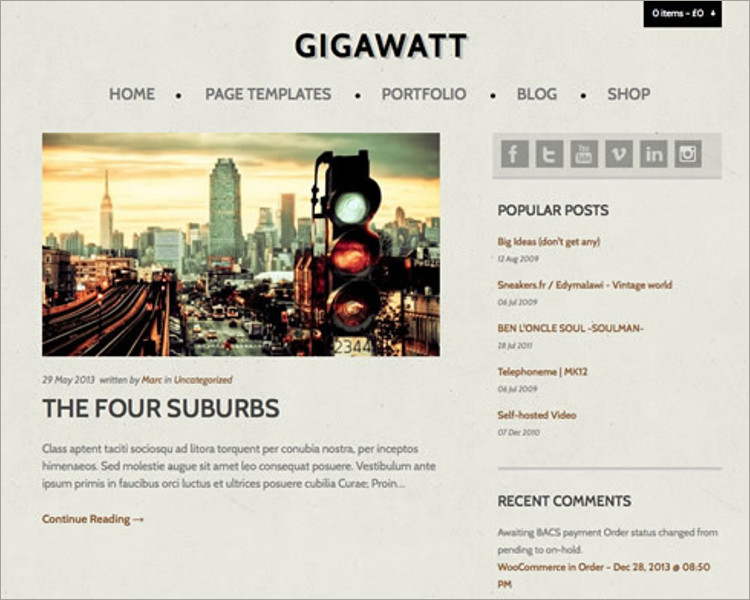 WordPress Video blog Theme