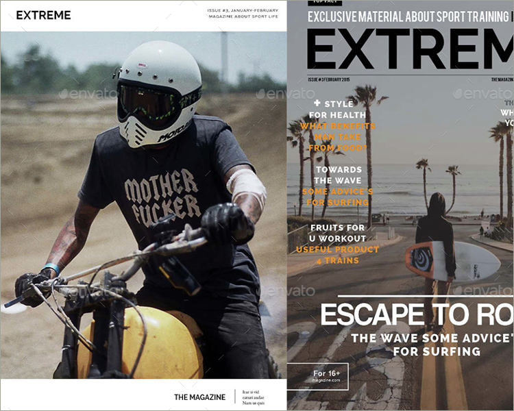 action sports magazine template