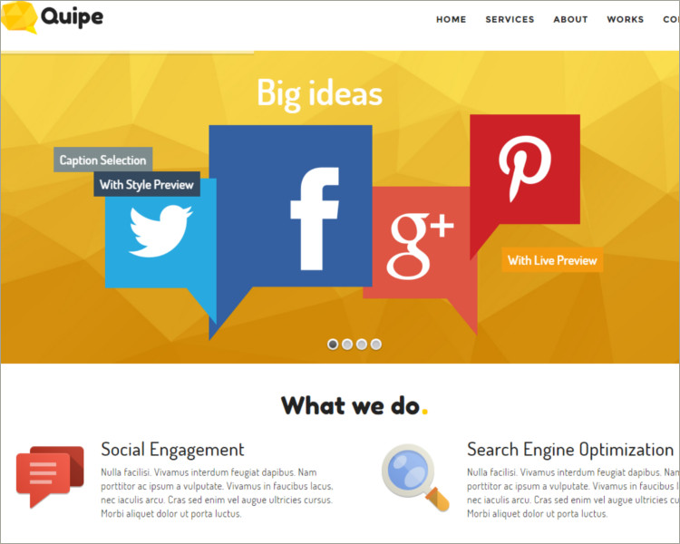 customizable social media website template