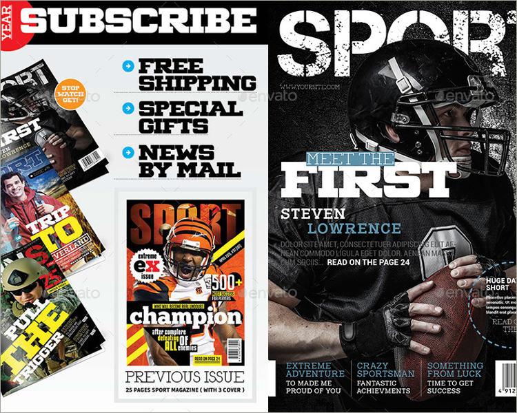 football sport magazine template