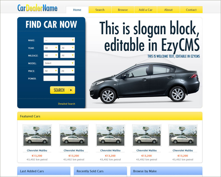 free Car Dealer Website Template