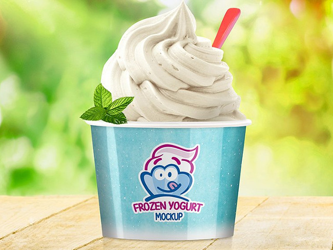 Creative Nice Frozen Yogurt Cup Mockup Template