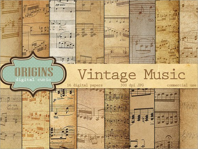 Vintage Music Notes Digital Paper Texture