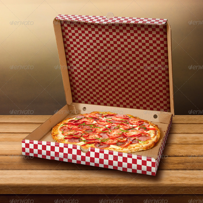 pizza cardboard box mockup