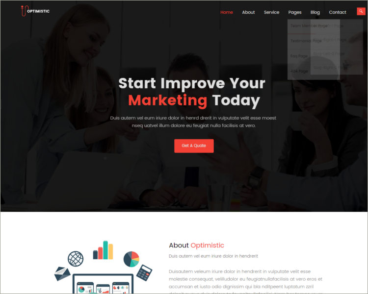 premium social media website template
