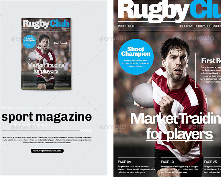 rugby club magazine template