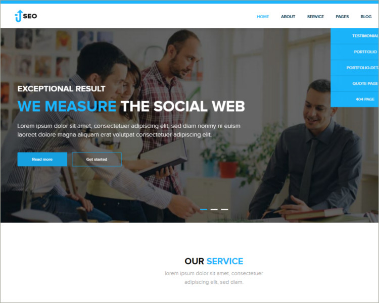 seo friendly social media website template