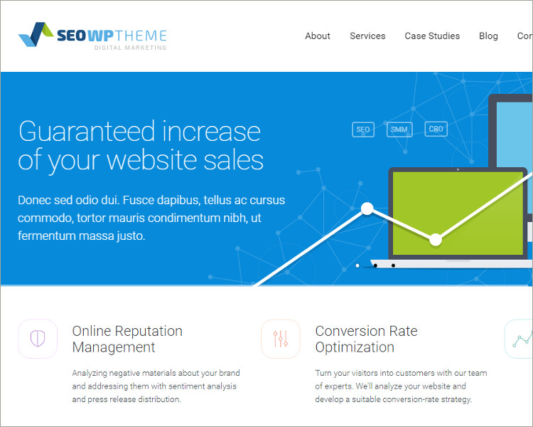 seo social media website template
