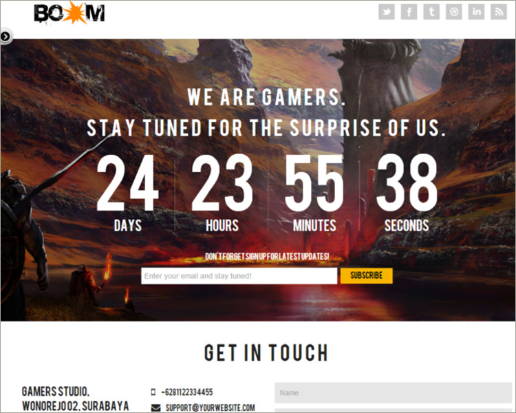 social media game Website template