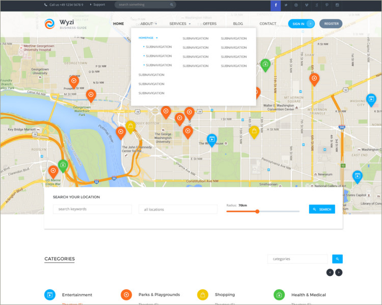 social media geo locatoin website template