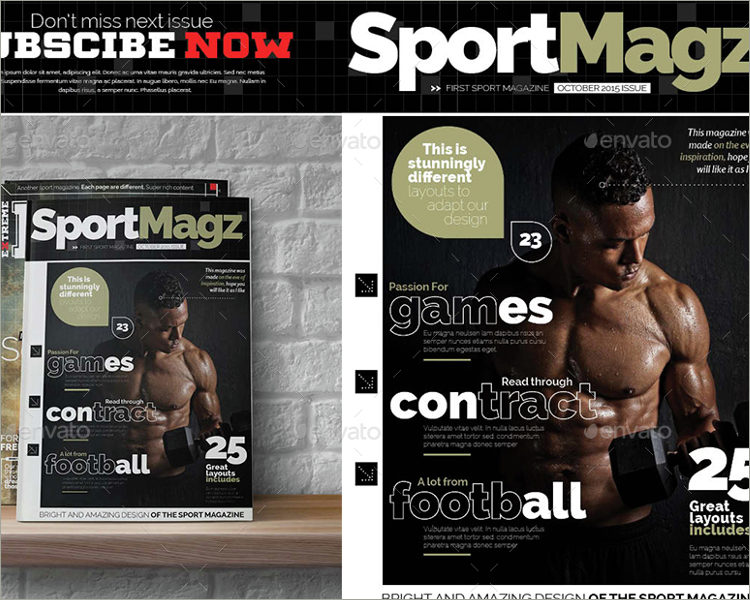sports magazine template bundle