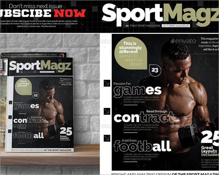 sports magazine template bundle