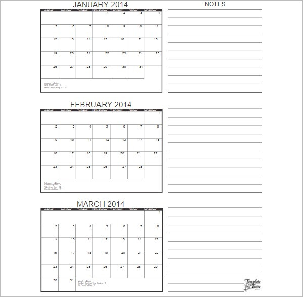 three month calendar template word - 25 free printable calendar templates word pdf excel formats