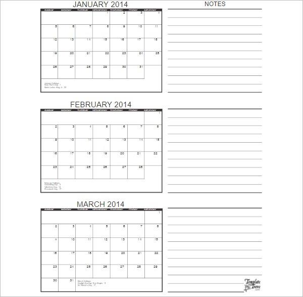 3 Months Calander Excel Template Form