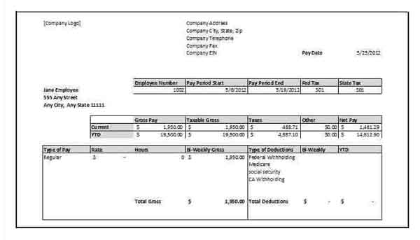 Sample Paycheck Stub Template Zrom