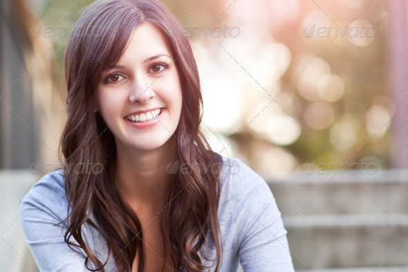 A portrait of a smiling beautiful woman picture