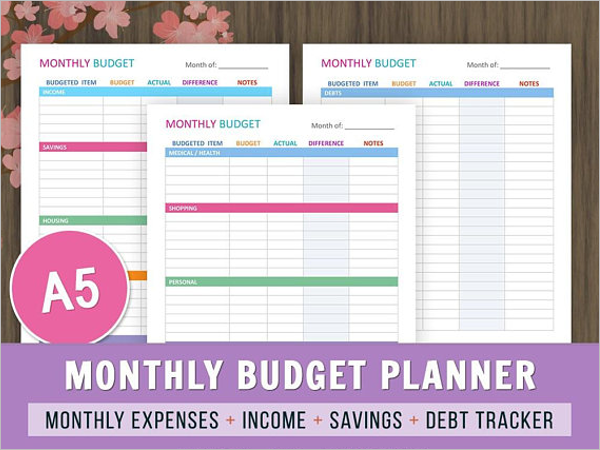 A5 Budget Planner Template Excel