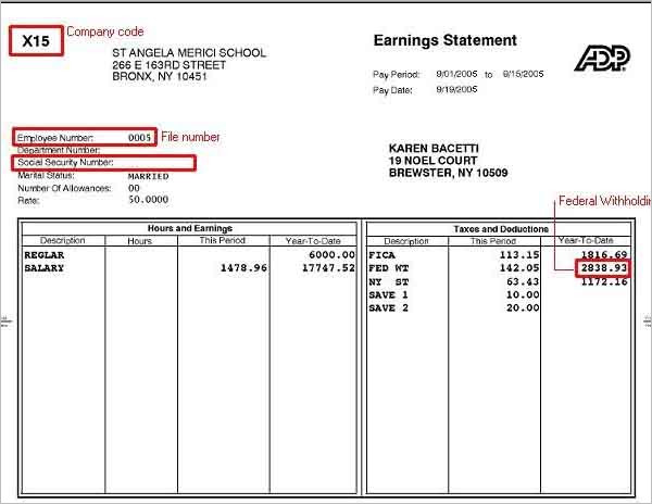 ADP Pay Stub Template Free download