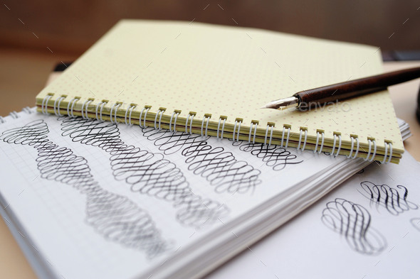 Abstract Calligraphic Figures Hand Drawing Elements