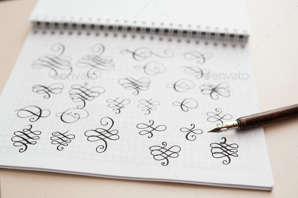 Abstract Calligraphic Figures Hand Drawing