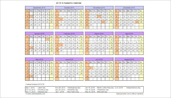 Academic Calendar Template Format