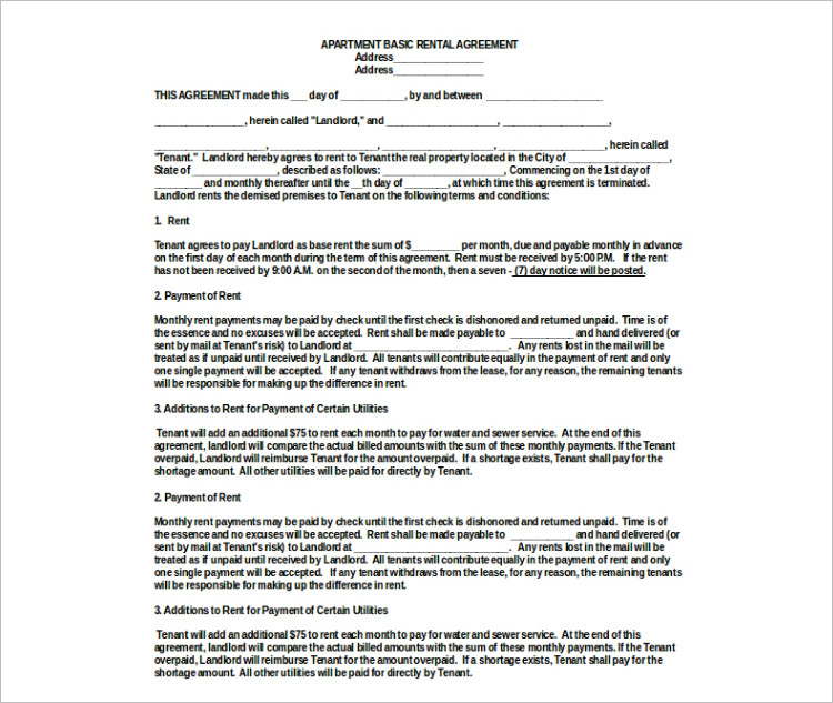 Basic Agreement Form Apartment Rental Agreement Templates Form