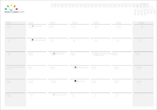 April 2017 Calendar Template Form