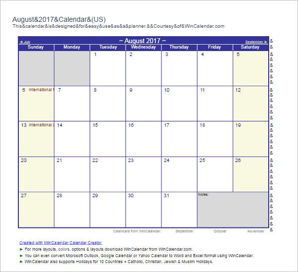 August 2017 Calendar Template Format