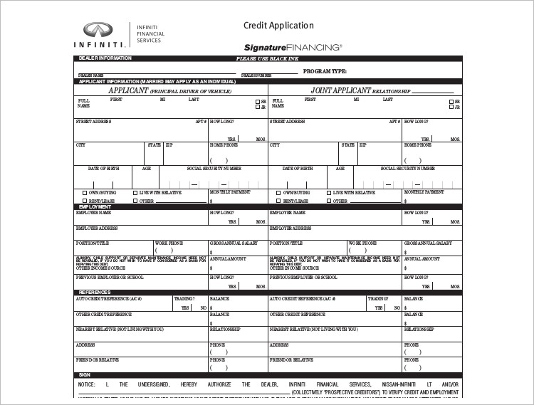 Auto Credit Application Template Word PDF