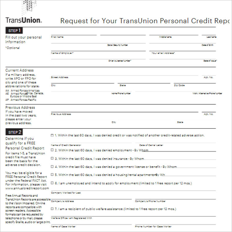 Auto Credit Application Template