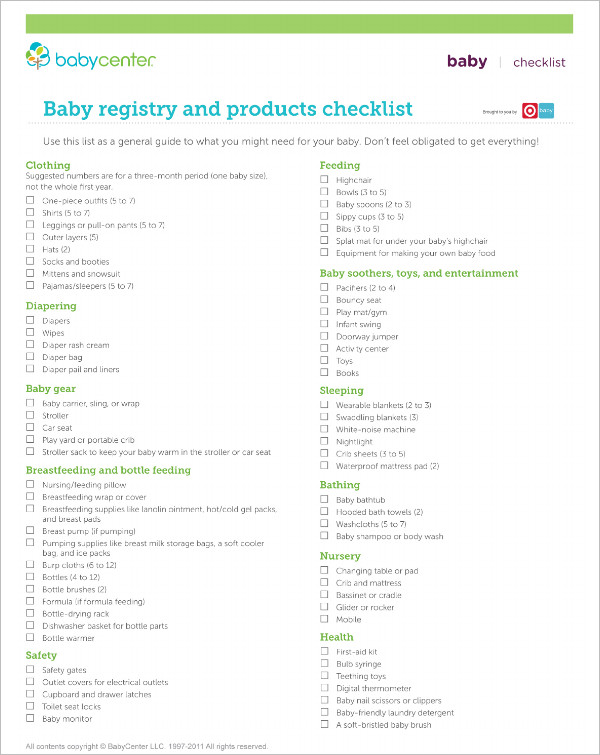 Baby Center Checklist Template